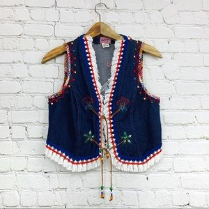Vintage Laura boho hippie denim embroidered vest